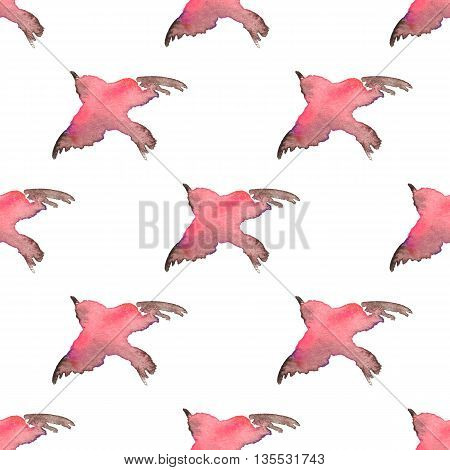 Background with simple watercolor birds 1. Seamless pattern