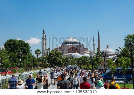 ISTANBUL TURKEY - JUNE 20 2015: Hagia Sophia was a Greek Orthodox Christian patriarchal basilica (church) later an imperial mosque and now a museum in Istanbul Turkey