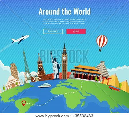 Travel to World. Road trip. Tourism. Landmarks on the globe. Concept website template. Vector illustration.