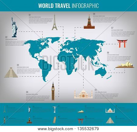 Infographic World Landmarks On Map.  Vector