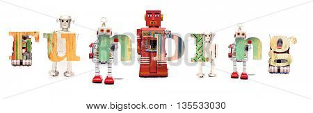 The word funding with retro robot toys