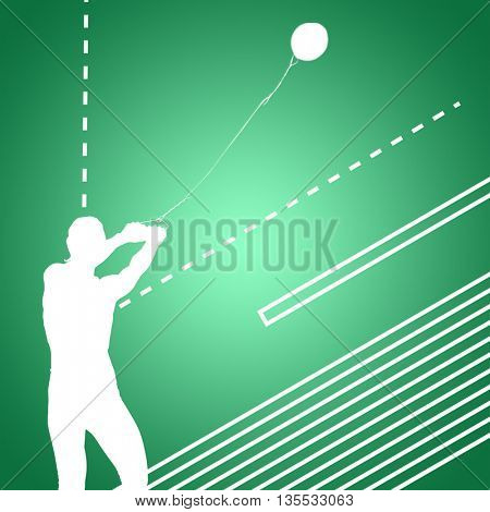 Portrait of sportswoman practising hammer throw against green vignette