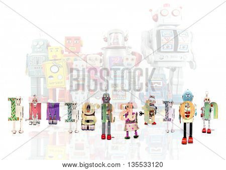 The Word  immigration with retro robot toys