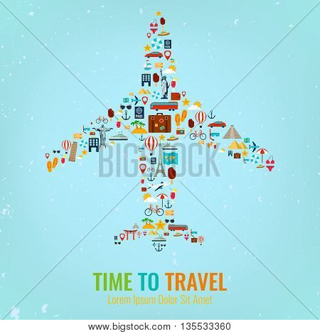 Airplane silhouette with travel flat icons. Travel and tourism concept. Vector