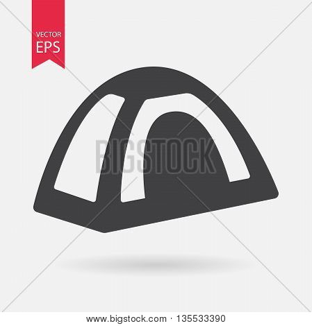Tent icon. Tourist tent sign isolated on white background. Flat design style. Vector illustration