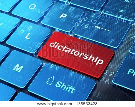 Political concept: computer keyboard with word Dictatorship on enter button background, 3D rendering