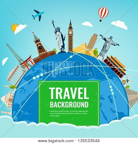 Travel composition with famous world landmarks. Travel and Tourism. Vector illustration.