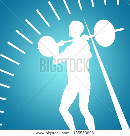 Bodybuilder lifting heavy barbell weights against blue vignette background