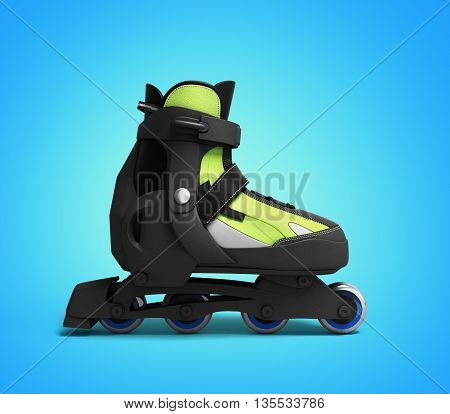 Inline Rollers Skates 3D Render On Gradient Background