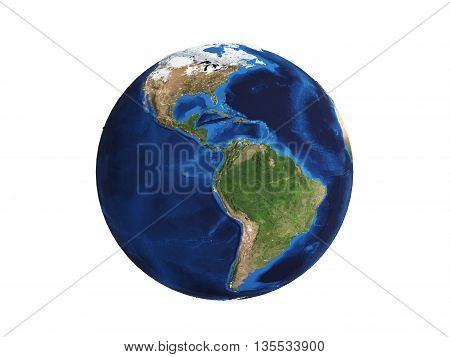 Planet Earth isolated on white 3d illustration