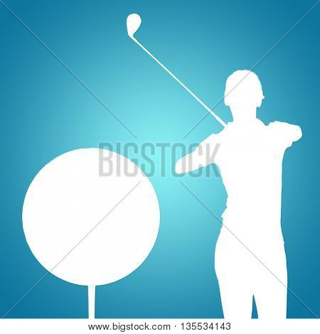 Woman playing golf against blue vignette background