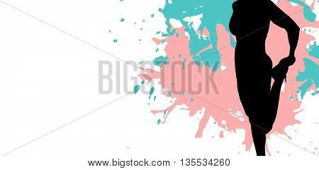 Sporty woman stretching her leg against different black silhouette