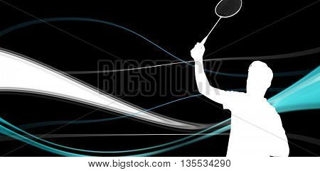 Badminton player playing badminton against abstract lines on black background