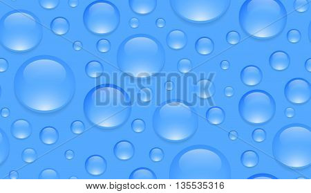 Seamless texture with transparent water droplets. Vector background for your creativity