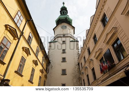 Famous St. Michaels watch tower and gate in the old town of Bratislava city Slovakia