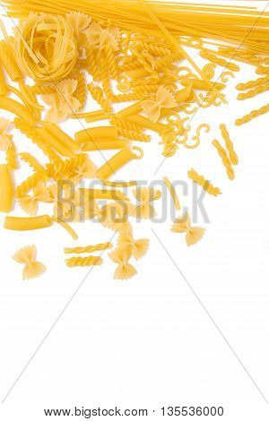 selection of pasta, isolated on white background: fussili, rigatoni, gemelli, tagliatelle, penne farfalle, gobetti and spaghetti