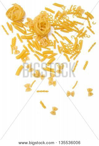 selection of pasta, isolated on white background: fussili, rigatoni, gemelli, tagliatelle, penne and farfalle, gobetti