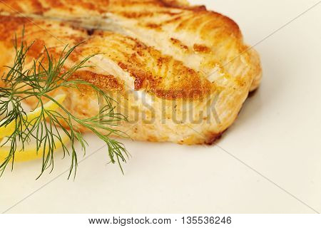 Fish Steak. Grill Salmon Fish. Gourmet Restaurant Food