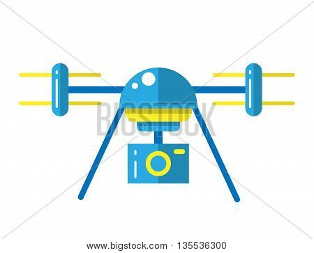 Copter illustration. Air drones. Flat drone. Drone with with camera