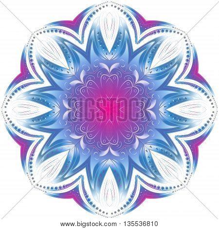 Geometric circle element. Mandala for decoration holiday cards background and sites. Purple neon mandala. Kaleidoscope medallion yoga India arabic style