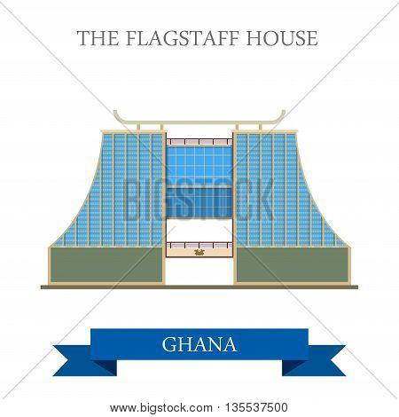 The Flagstaff House in Ghana flat cartoon vector illustration