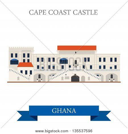 Cape Coast Castle in Ghana Flat vector illustration