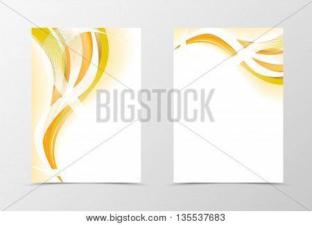 Flyer template design. Abstract flyer template vector illustration in orange color. Gold smooth flyer design