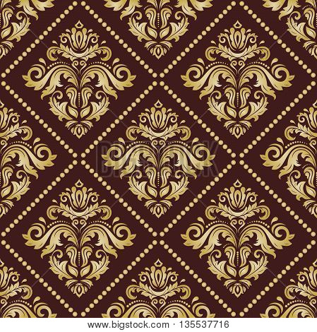 Oriental classic ornament. Seamless abstract brown and golden background