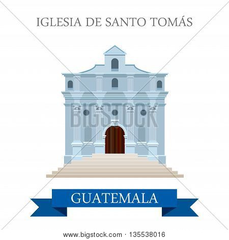 Iglesia de Santo Tomás in Guatemala flat web vector illustration