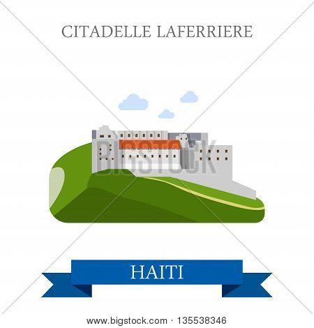 Citadelle Laferriere in Haiti flat vector illustration