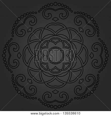 Oriental dark round pattern with arabesques and floral elements. Traditional classic ornament
