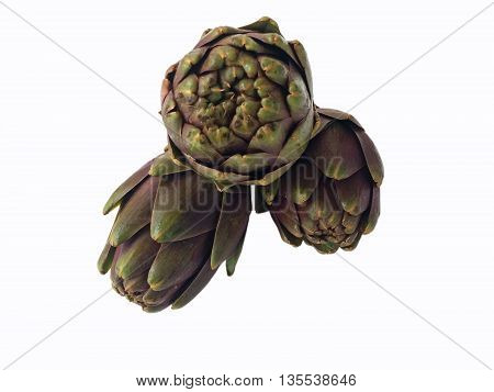 Artichoke heads isolated on white background (clipping path included)