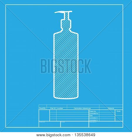 Gel, Foam Or Liquid Soap. Dispenser Pump Plastic Bottle silhouette. White section of icon on blueprint template.