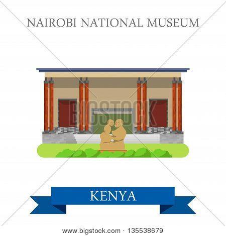 Nairobi National Museum in Kenya flat vector illustration
