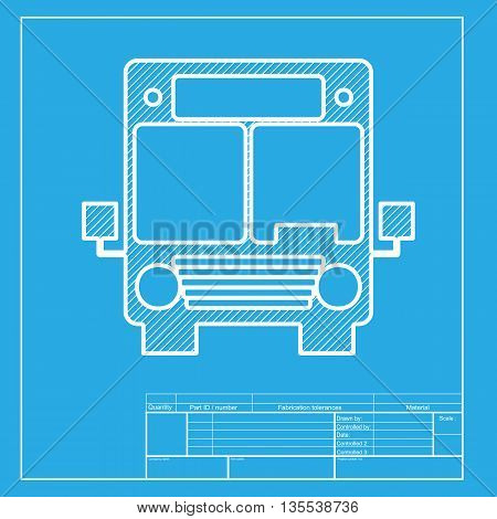 Bus sign illustration. White section of icon on blueprint template.