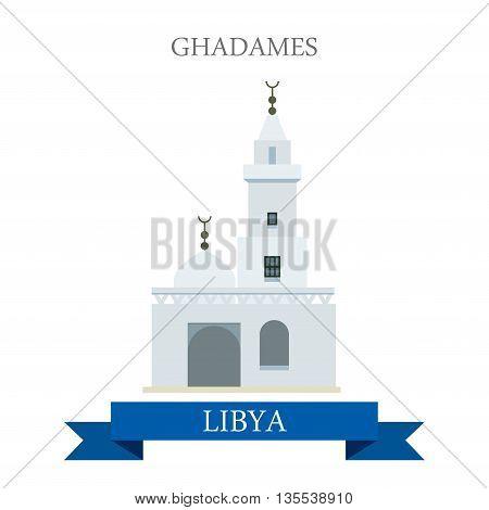 Ghadames in Libya. Flat cartoon web site vector illustration