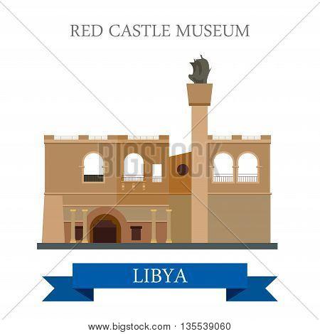 Red Castle Museum in Libya vector illustration
