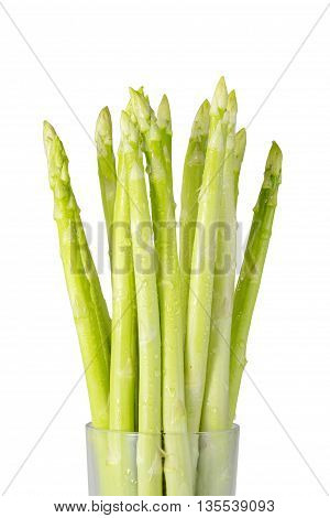 Green asparagus fresh isolated on white background. File contains a clipping path.