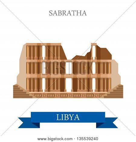 Sabratha in Libya. Flat cartoon historic vector illustration