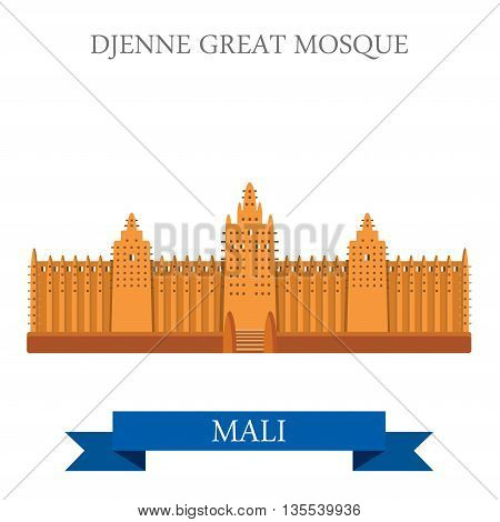 Djenne Great Mosque in Farmantala in Mali vector illustration