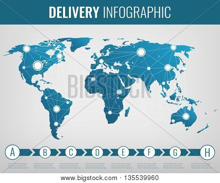 World Transportation And Logistics. Delivery And Shipping Infographic Elements. Vector