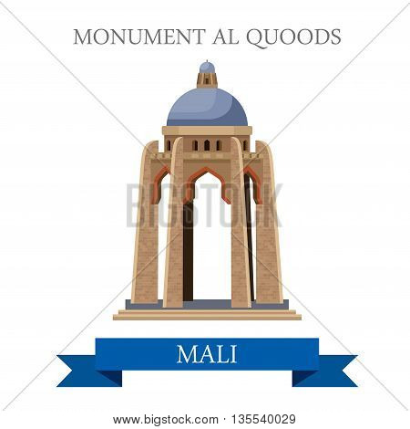 Monument al Quoods in Bamako in Mali. Flat vector illustration