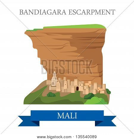 Bandiagara Escarpment in Mali. Flat historic vector illustration
