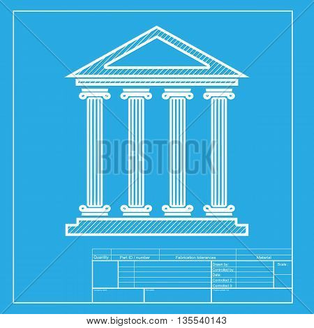 Historical building illustration. White section of icon on blueprint template.