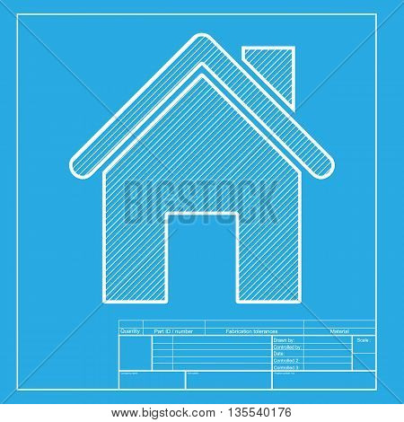 Home silhouette illustration. White section of icon on blueprint template.