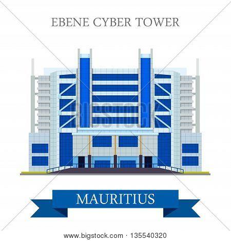 Ebene Cyber Tower in Mauritius Flat historic vector illustration