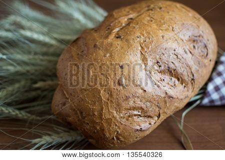 White Grain fitness home-baked bread on barley ears