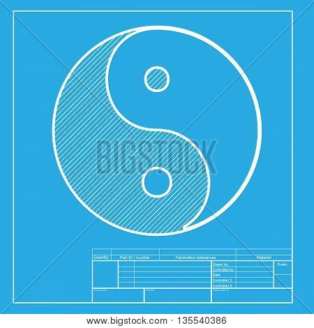 Ying yang symbol of harmony and balance. White section of icon on blueprint template.