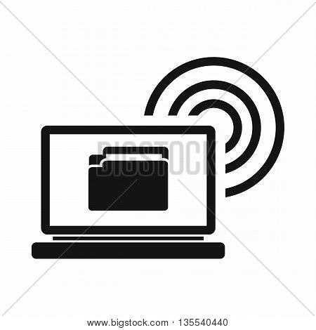 Laptop and and wireless icon in simple style isolated on white background