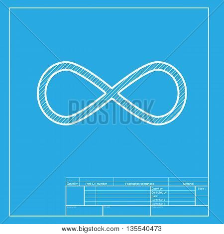 Limitless symbol illustration. White section of icon on blueprint template.